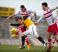 Stirling Albion's Phil Johnston and East Fife's Pat Slattery. <br /> Half time : East Fife 0 v 0 Stirling Albion, Scottish Football League Division Two game played atBayview Stadium, 20/2/2106.