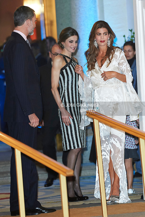 Queen Letizia of Spain, Juliana Awada host a reception at the El Pardo Palace on February 23, 2017 in Madrid, Spain