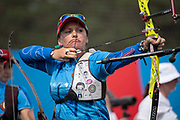 Hanna Marusava for team Belarus during the women's archery recurve team, gold medal match, at the Olympic Sports Complex on the 22nd June 2019 in Minsk in Belarus.