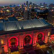 Drone aerial view at dusk of Union Station in Kansas City, Missouri