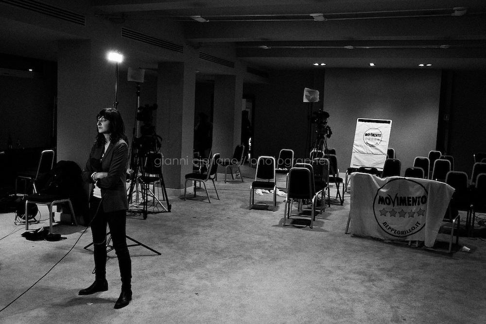 """ROME, ITALY - 25 FEBRUARY 2013: Press room of the Five Stars Movement in Rome, on February 25, 2013.<br /> <br /> A general election to determine the 630 members of the Chamber of Deputies and the 315 elective members of the Senate, the two houses of the Italian parliament, will take place on 24–25 February 2013. The main candidates running for Prime Minister are Pierluigi Bersani (leader of the centre-left coalition """"Italy. Common Good""""), former PM Mario Monti (leader of the centrist coalition """"With Monti for Italy"""") and former PM Silvio Berlusconi (leader of the centre-right coalition).<br /> <br /> ###<br /> <br /> ROMA, ITALIA - 25 FEBBRAIO 2013: Sala stampa del Movimento 5 Stelle a Roma, il 25 febbraio 2013.<br /> <br /> Le elezioni politiche italiane del 2013 per il rinnovo dei due rami del Parlamento italiano – la Camera dei deputati e il Senato della Repubblica – si terranno domenica 24 e lunedì 25 febbraio 2013 a seguito dello scioglimento anticipato delle Camere avvenuto il 22 dicembre 2012, quattro mesi prima della conclusione naturale della XVI Legislatura. I principali candidate per la Presidenza del Consiglio sono Pierluigi Bersani (leader della coalizione di centro-sinistra """"Italia. Bene Comune""""), il premier uscente Mario Monti (leader della coalizione di centro """"Con Monti per l'Italia"""") e l'ex-premier Silvio Berlusconi (leader della coalizione di centro-destra)."""