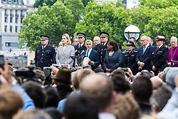 City Hall, London, June 5th 2017.  The Mayor of London Sadiq Khan address the thousands gathered outside City hall at a vigil held in remembrance of those killed during the June 3rd terror attack at London Bridge and Borough Market.