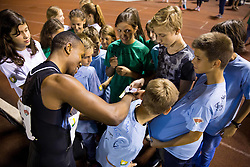 Akani Simbine of South Africa celebrate with young fans after 100m Men when he run 9,99 s during 20th European Athletics Classic Meeting in Honour of Miners' Day in Velenje on July 1, 2015 in Stadium Velenje, Slovenia. Photo by Vid Ponikvar / Sportida