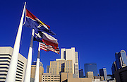 Image of the downtown Dallas skyline with flags, Dallas, Texas, American South by Randy Wells