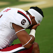 South Carolina Gamecocks wide receiver Damiere Byrd (1) takes a moment prior to an NCAA football game between the South Carolina Gamecocks and the Central Florida Knights at Bright House Networks Stadium on Saturday, September 28, 2013 in Orlando, Florida. (AP Photo/Alex Menendez)