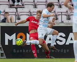 Kristian Kirkegaard (FC Fredericia) og Frederik Bay (FC Helsingør) under kampen i 1. Division mellem FC Fredericia og FC Helsingør den 4. oktober 2020 på Monjasa Park i Fredericia (Foto: Claus Birch).