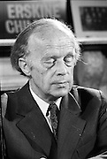 Erskine Childers Press Conference..1973..31.05.1973..05.31.1973..31st May 1973..At a press conference at Fianna Fail headquarters, Mr Erskine Childers, was confirmed as the winner of the presidential campaign. He won by a margin of 52% to 48% beating the favourite Tom O'Higgins,Fine Gael..A portrait of President Elect,Mr Erskine Childers,in pensive mode at his press conference.