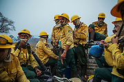 Fire brigade members from IBAMA - Brazilian Institute for the Environment and Renewable Natural Resources - are transported to combat a forest fire at Santa Tereza farm, in the Pantanal of Mato Grosso do Sul. <br /> The region is currently suffering from the worst drought in 50 years causing the fires to rage out of control while the policies of Brazilian president Jair Bolsonaro have weakened conservation regulation and enforcement and have even gone so far as to block funding for fire enforcement.