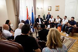 Luc Vergoossen of FIBA and Darko Bulatović, mayor during Reception of Women's Eurobasket 2019 teams and FIBA officials at Mayor of City of Nis, on June 29, 2019 in City hall, Nis, Serbia. Photo by Vid Ponikvar / Sportida