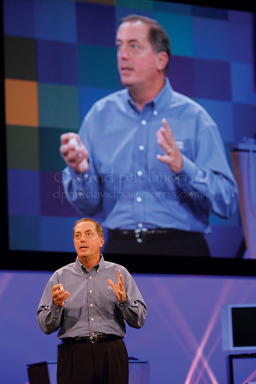 SAN FRANCISCO - AUGUST 23:  Paul Otellini, President and CEO of Intel delivers his keynote speech during the opening of the Intel Developer Forum at the Moscone Center on August 23, 2005 in San Francisco, California.  (Photo by David Paul Morris)