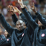 Kobe Bryant, USA, on the podium after their victory in the Men's Basketball Final between USA and Spain at the North Greenwich Arena during the London 2012 Olympic games. London, UK. 12th August 2012. Photo Tim Clayton