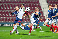 Billy Gilmore (#16) of Scotland U21s (Chelsea FC) clear the ball from the Scotland box during the U21 UEFA EUROPEAN CHAMPIONSHIPS match between Scotland and England at Tynecastle Stadium, Edinburgh, Scotland on 16 October 2018.