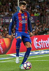 August 10, 2016 - Barcelona, Catalonia, Spain - Gerard Pique during the match corresponding to the Joan Gamper Trophy, played at the Camp Nou stadiium, on august 10, 2016. (Credit Image: © Joan Valls/NurPhoto via ZUMA Press)