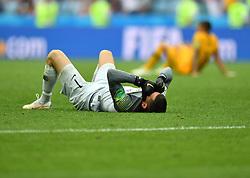 SOCHI, June 26, 2018  Goalkeeper Mathew Ryan of Australia reacts after the 2018 FIFA World Cup Group C match between Australia and Peru in Sochi, Russia, June 26, 2018. Peru won 2-0. (Credit Image: © Liu Dawei/Xinhua via ZUMA Wire)