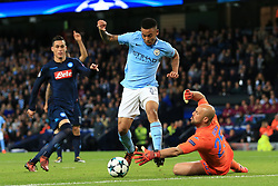 17th October 2017 - UEFA Champions League - Group F - Manchester City v Napoli - Gabriel Jesus of Man City goes around Napoli goalkeeper Pepe Reina - Photo: Simon Stacpoole / Offside.