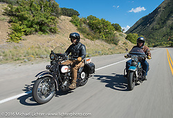 Paul Ousey riding his 1925 Harley-Davidson JE with American Iron Magazine publisher Buzz Kanter on his 1936 Harley-Davidson VLH during stage 11 (289 miles) of the Motorcycle Cannonball Cross-Country Endurance Run, which on this day ran from Grand Junction, CO to Springville, UT., USA. Tuesday, September 16, 2014.  Photography ©2014 Michael Lichter.