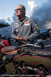 Harry Verkuil of Scotland with his 1916 Model F class-3 Harley-Davidson in Williams during the Motorcycle Cannonball Race of the Century. Stage-12 ride from Page, AZ to Williams, AZ. USA. Thursday September 22, 2016. Photography ©2016 Michael Lichter.