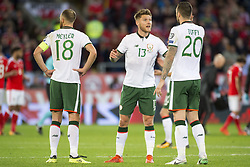 October 9, 2017 - Cardiff City, Walles, United Kingdom - David Meyler (18), Jeff Hendrick (13) and Shane Duffy of Ireland talk each other during the FIFA World Cup 2018 Qualifying Round Group D match between Wales and Republic of Ireland at Cardiff City Stadium in Cardiff, Wales, United Kingdom on October 9, 2017  (Credit Image: © Andrew Surma/NurPhoto via ZUMA Press)