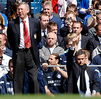Photo: Daniel Hambury.<br />Chelsea v Manchester United. The Barclays Premiership. 29/04/2006.<br />Chelsea's manager Jose Mourinho and United's manager Sir Alex Ferguson.