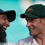 Mohammad Yousuf (left) and Michael Hussey after the Australia V Pakistan 2nd Cricket Test match at the Sydney Cricket Ground, Sydney, Australia, 6 January 2010. Photo Tim Clayton