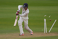 Keaton Jennings (Durham County Cricket Club) is clean bowled by Rikki Clarke (Warwickshire County Cricket Club) during the LV County Championship Div 1 match between Durham County Cricket Club and Warwickshire County Cricket Club at the Emirates Durham ICG Ground, Chester-le-Street, United Kingdom on 14 July 2015. Photo by George Ledger.