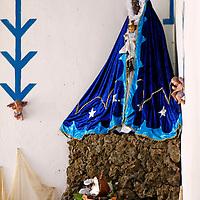 Central America, Cuba, Trinidad. Santeria Altar to Yemaya, Goddess of the Sea, at Casa Templo de Santería Yemayá in Trinidad.