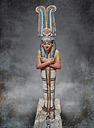 Ancient Egyptian statuette of Ptah Sokar Osiris, Late Period 25-26th Dynasty, (722-525 BC). Egyptian Museum, Turin.  Old Fund Cat 2466.
