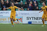Andy Sandell(13) of Newport County celebrates on scoring his sides 3rd goal during the Skybet football league two match, Newport county v Chesterfield at Rodney Parade in Newport, South Wales on Sunday 1st Dec 2013. pic by Jeff Thomas, Andrew Orchard sports photography,