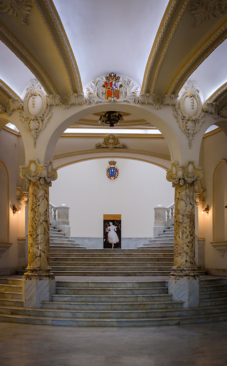 HAVANA, CUBA - CIRCA MARCH 2017: Entrance to the National Theater in Havana. Also known as Gran Teatro de La Habana, Alicia Alonso.