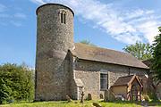 Church of Saint Peter, Bruisyard, Suffolk, England, UK round tower and churchyard