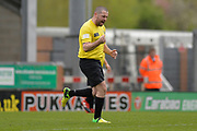 Shayne Ward celebrates during the Sellebrity Soccer match between Katie Price XI and Kerry Katona XI at the Pirelli Stadium, Burton upon Trent, England on 29 April 2018. Picture by Richard Holmes.
