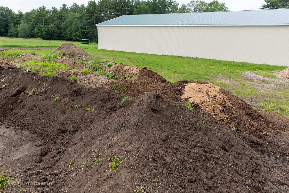 Compost pile at Clarke Farm in Epping, New Hampshire.