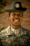 U.S. Army Staff Sgt. Natisha Baylor stands near the barracks of her military trainees at Fort Jackson, S.C., on October 23, 2008.