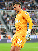 NEWCASTLE UPON TYNE, ENGLAND - SEPTEMBER 17: Karl Darlow of Newcastle United during the Premier League match between Newcastle United and Leeds United at St. James Park on September 17, 2021 in Newcastle upon Tyne, England. (Photo by MB Media)