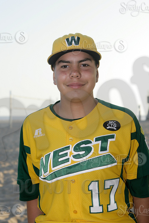 26 September 2011: #17 Jason Mayorga 2011 Little League Baseball World Series Championship team portrait northside of the Huntington Beach Pier at sunset in Southern California.  Ocean View team WEST beat Hamamtsu City, Japan, 2-1, to become the seventh team from California to win the title on August 28, 2011 in South Williamsport, PA.