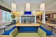 The Graden Hilton. Interiors. Lobby area. Raymond SC Wan Architects, Winnipeg, Manitoba, Canada