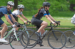 ©Licensed to London News Pictures 08/05/2020  <br /> Greenwich, UK. Cyclists keeping fit. People out and about in Greenwich Park, Greenwich, London, enjoying the bank holiday weekend sunny weather out of the house from coronavirus lockdown. <br /> Photo credit:Grant Falvey/LNP