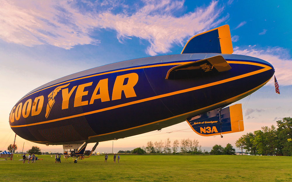 The Goodyear Blimp at it's evening mooring.  Airventure 2008, Oshkosh, Wisconsin.