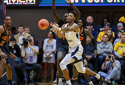 Jan 12, 2019; Morgantown, WV, USA; West Virginia Mountaineers forward Derek Culver (1) passes the ball during the first half against the Oklahoma State Cowboys at WVU Coliseum. Mandatory Credit: Ben Queen-USA TODAY Sports