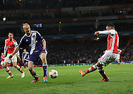 Arsenal's Alex Oxlade-Chamberlain scoring his sides third goal<br /> <br /> - Champions League Group D - Arsenal vs Anderlecht- Emirates Stadium - London - England - 4th November 2014  - Picture David Klein/Sportimage