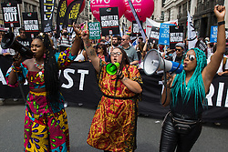 London, UK. 26th June, 2021. Activists from United for Black Lives, Black Lives Matter and Kill The Bill join thousands of people attending a United Against The Tories national demonstration organised by the People's Assembly Against Austerity in protest against the policies of Prime Minister Boris Johnson's Conservative government. The demonstration contained blocs from organisations and groups including Palestine Solidarity Campaign, Stand Up To Racism, Stop The War Coalition, Extinction Rebellion, Kill The Bill and Black Lives Matter as well as from trade unions Unite and the CWU.