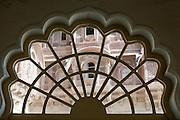 Ornamental window in Mehrangarh Fort in the city of Jodhpur, Rajasthan, India
