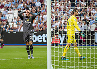 Football - 2019 / 2020 Premier League - West Ham United vs. Norwich <br /> <br /> Josip Drmic (Norwich City) reacts after missing a late chance at the London Stadium<br /> <br /> COLORSPORT/DANIEL BEARHAM