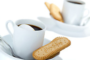 My favorite Italian biscotti along with espresso for two. Couldn't resist giving a high key look to this set up.