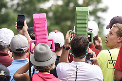 August 12, 2018 - Town And Country, Missouri, U.S - fans use view extenders to see over the crowd on hole two during round four of the 100th PGA Championship on Sunday, August 12, 2018, held at Bellerive Country Club in Town and Country, MO (Photo credit Richard Ulreich / ZUMA Press) (Credit Image: © Richard Ulreich via ZUMA Wire)
