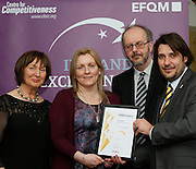 Noreen McGowan and Deirdre McGauran of Leitrim Mabs  receive their award from  Tony McQuinn Chief Executive CIB and Matt Fisher COO, EFQM at the EFQM Ireland Excellence Awards ceremony in association with Fáilte Ireland and the Centre for Competitiveness at the Galway Bay Hotel on Friday night. Photo:- Andrew Downes Photography / No Fee