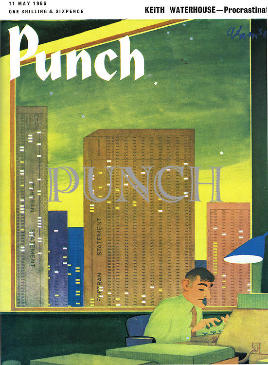 (Punch front cover, 11 May 1966. In an office, Mr Punch enters data into his computer. The skyline behind him is made of Fortran statements)