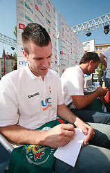 Sani Becirovic at press conference and after time with fans of Slovenian basketball National Team before departure to Athens for Olympic qualifications, on July 12, 2008, at Presernov trg, in Ljubljana, Slovenia. (Photo by Vid Ponikvar / Sportal Images)