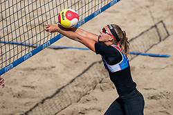 Katja Stam in action. The Final Day of the DELA NK Beach volleyball for men and women will be played in The Hague Beach Stadium on the beach of Scheveningen on 23 July 2020 in Zaandam.