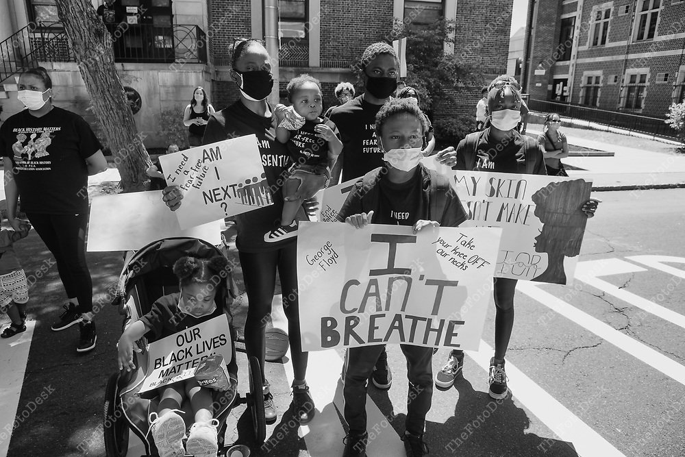 PLAINFIELD, NEW JERSEY:  BLM demonstrators shown l during a Justice for George Floyd protest and rally in Plainfield, New Jersey on Saturday June 13, 2020. TBrian Branch-Price/TheFotoDesk).